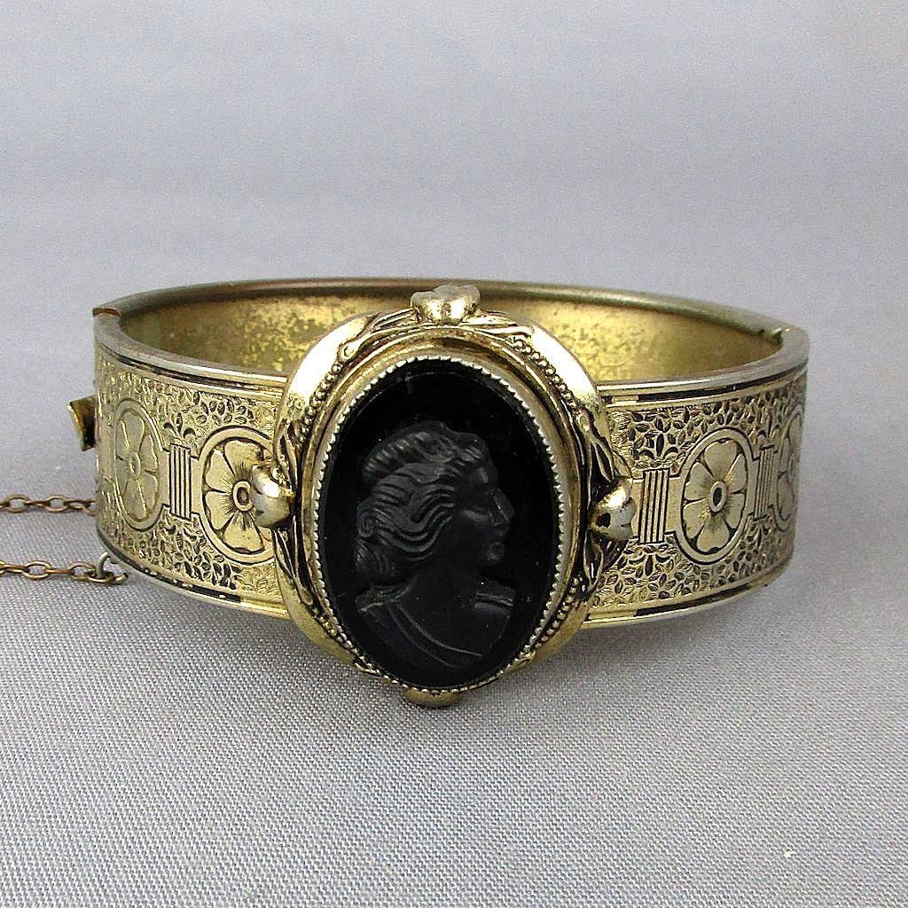 Vintage 1920s Gilded Metal Carved Black Cameo Bracelet