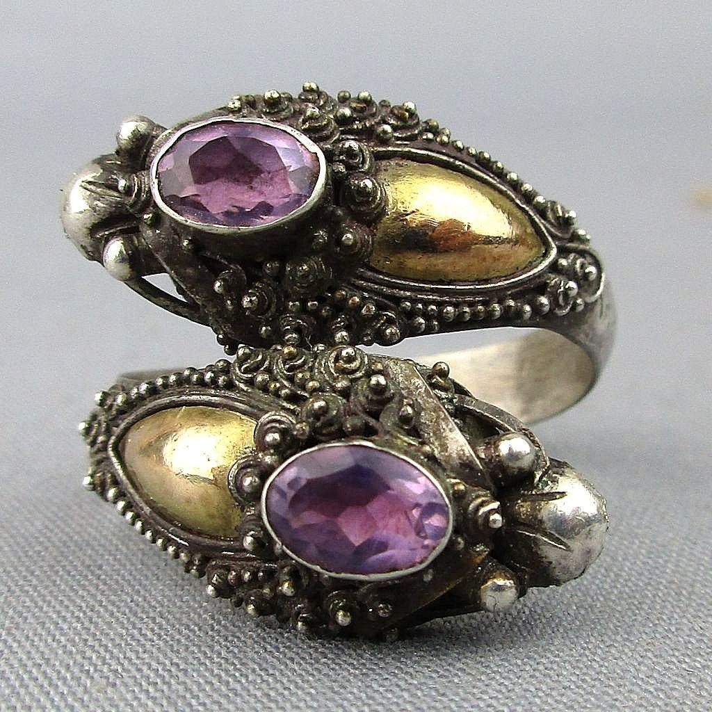 Old Bali Sterling Silver Double Head Dragon Wrap Ring w/ Amethyst