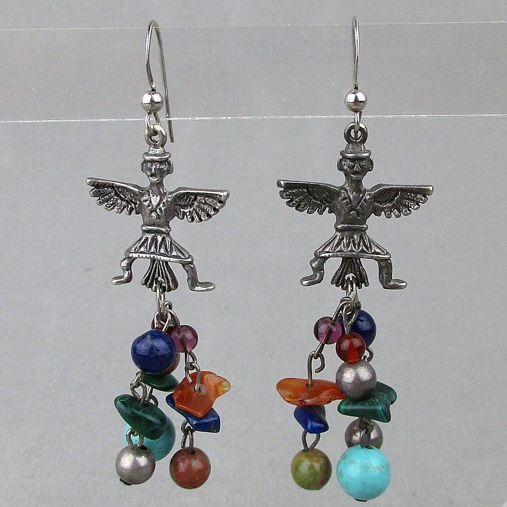 Vintage Sterling Silver Earrings Thunderbird Dancer - Gemstone Dangles