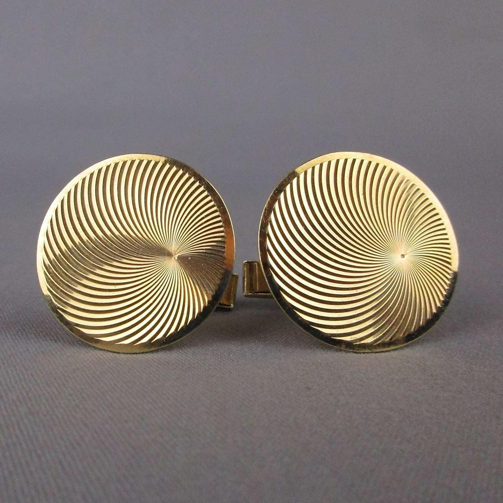 Modernist Fine Estate 14K Gold Cufflinks Swirling Vortex
