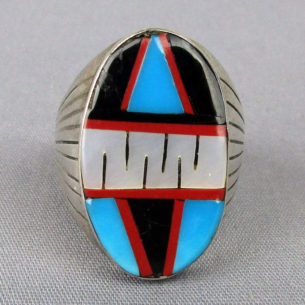 Big Vintage Men's Sterling Silver Ring w/ Inlay Turquoise Onyx Coral