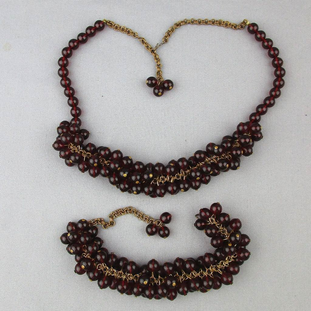 Old 1920s Red Garnet Glass Bead Dangles Set Necklace - Bracelet