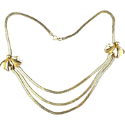 Art Deco Era Gold-Filled Box Chains w/ Ties Necklace