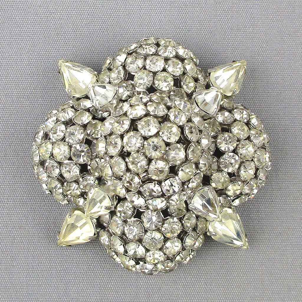 WARNER Floral Pin Mound of Clear Crystal Rhinestone Ice Brooch