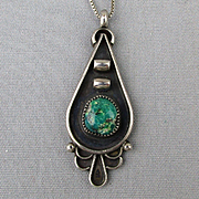 Signed Native American Sterling Silver Pendant Necklace w/ Turquoise Shadowbox