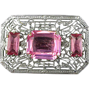 Art Deco Rhodium Plated Filigree Pin w/ Pink Rhinestones