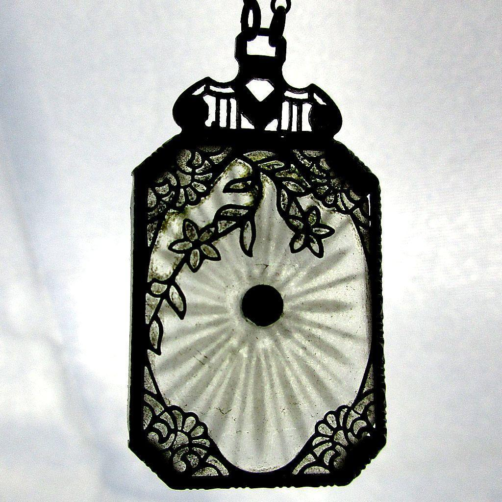 Victorian Camphor Glass Filigree Pendant Necklace
