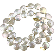 Vintage Freshwater Coin Pearl Necklace 14K Gold Clasp Pearls
