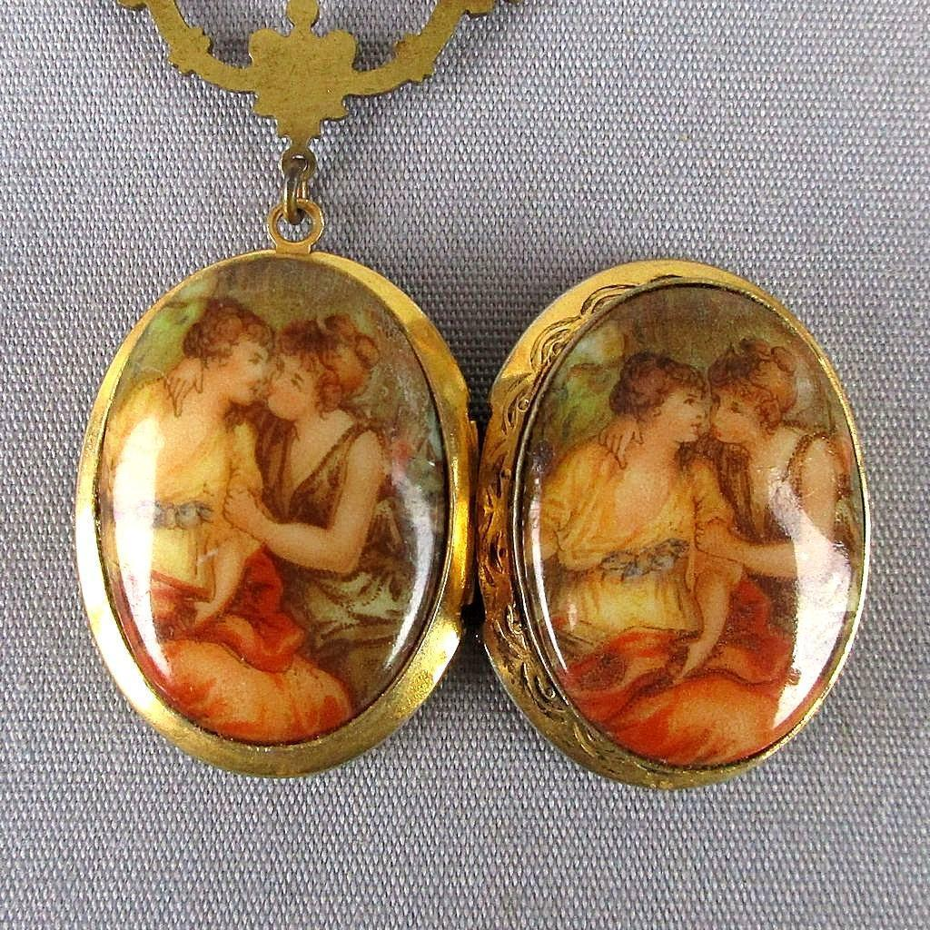 Victorian Couple Double Gilded Locket Pendant Necklace