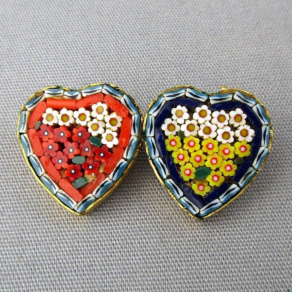 Vintage Micro Mosaic Tile Double HEART Pin Brooch