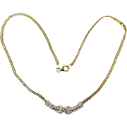 Vintage Gilded Sterling Silver Diamond Necklace w/ Infinity Symbol
