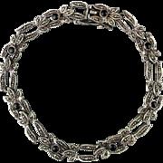 Sterling Silver w/ Marcasite - Black Onyx Link Bracelet