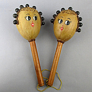 Pair Vintage Girly Face Maracas Venezuela Souvenir Rumba Shakers