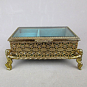 Vintage Gold Ormolu Beveled Glass Jewelry Trinket Music Box w/ Cherub Legs