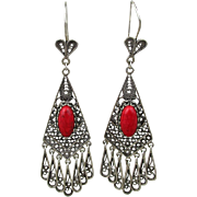Vintage Turkish Sterling Silver Long Chandelier Earrings w/ Red Coral Stone
