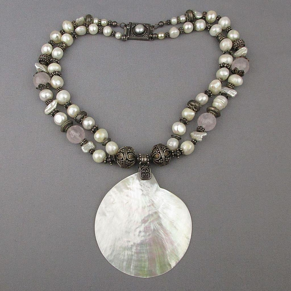 Vintage Necklace Big Baroque Pearls - Sterling Silver Beads - Mother-of-Pearl - Quartz