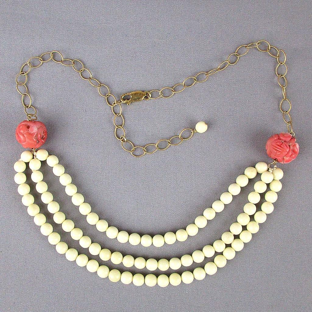 Chinese Carved White - Pink - Salmon Coral Bead Necklace - GF Chain