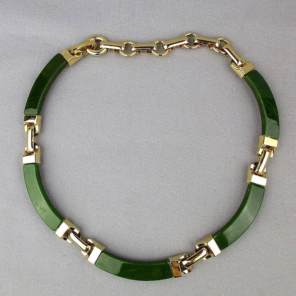 Modernist 1972 Christian Dior Germany Faux Bakelite Gold-Tone Necklace