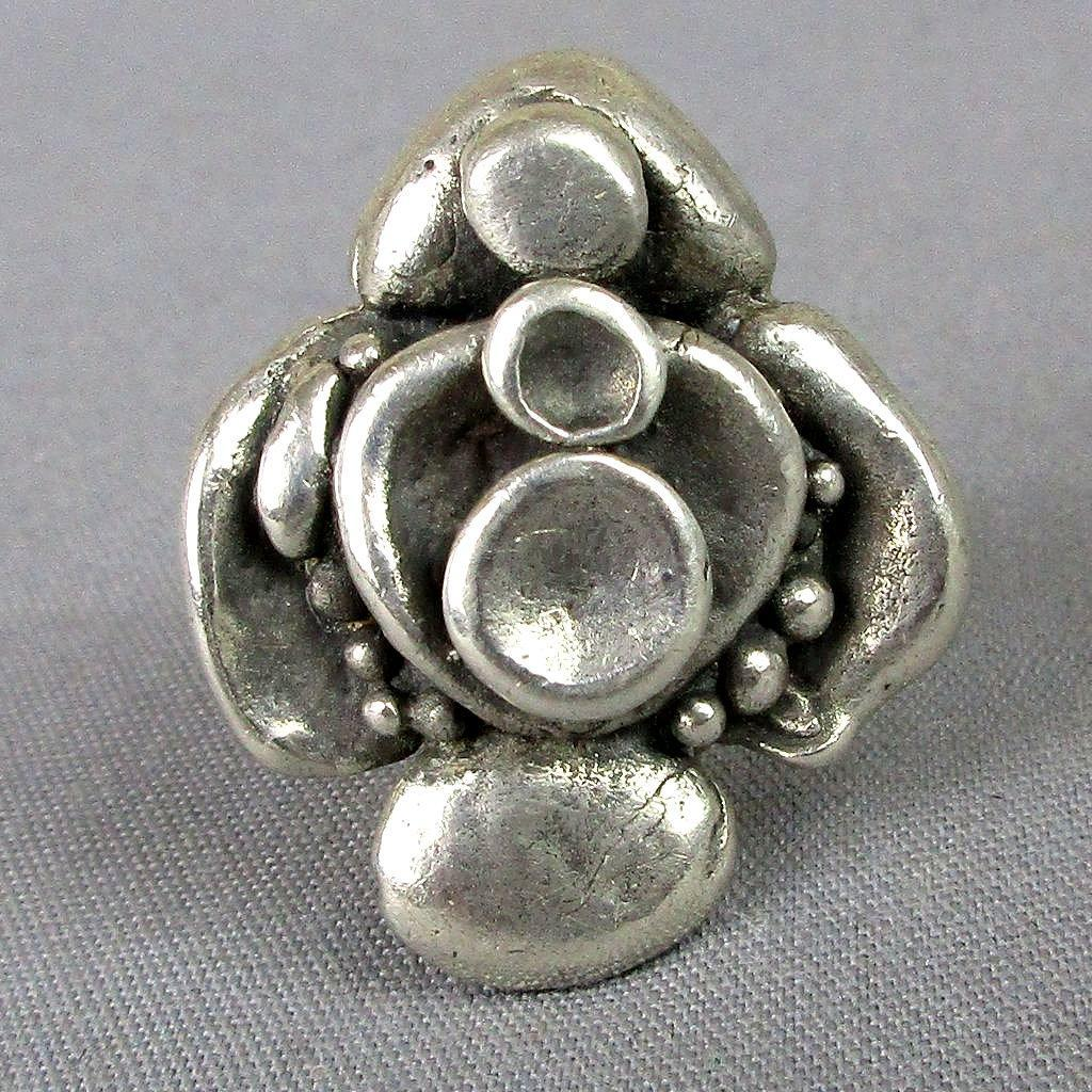 Modernist 830S Silver Ring Finland Abstract Flower