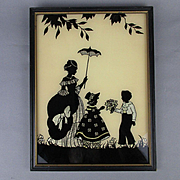 Art Deco Silhouette Picture Boy w/ Flowers - Girl - Mom w/ Parasol