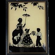 Art Deco Silhouette Picture Boy w/ Flowers - Girl - Mom w/ Parasol