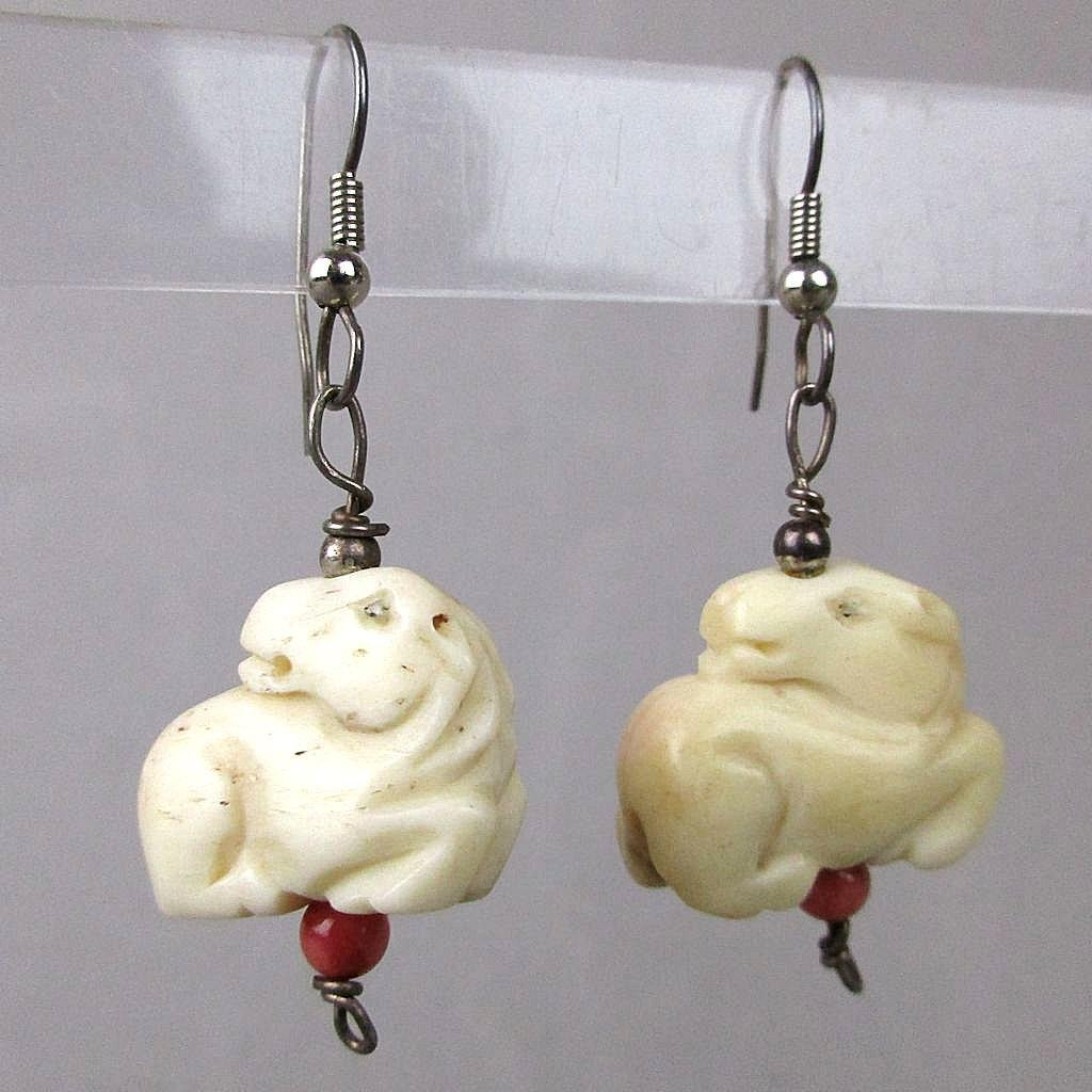 Vintage Chinese Hand-Carved Bone Horse Earrings w/ Coral