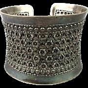 Old Ethnic 925 Sterling Silver Cuff Bracelet Yemen Tribal Wide Ornate Work