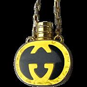 Vintage GUCCI Italy Miniature Perfume Bottle Pendant Necklace