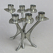 Pair Modernist Norway Pewter 1950s Candle Holders Brødrene Mylius