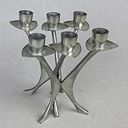 Pair Modernist Norway Pewter 1950s Candle Holders Brødrene Mylius