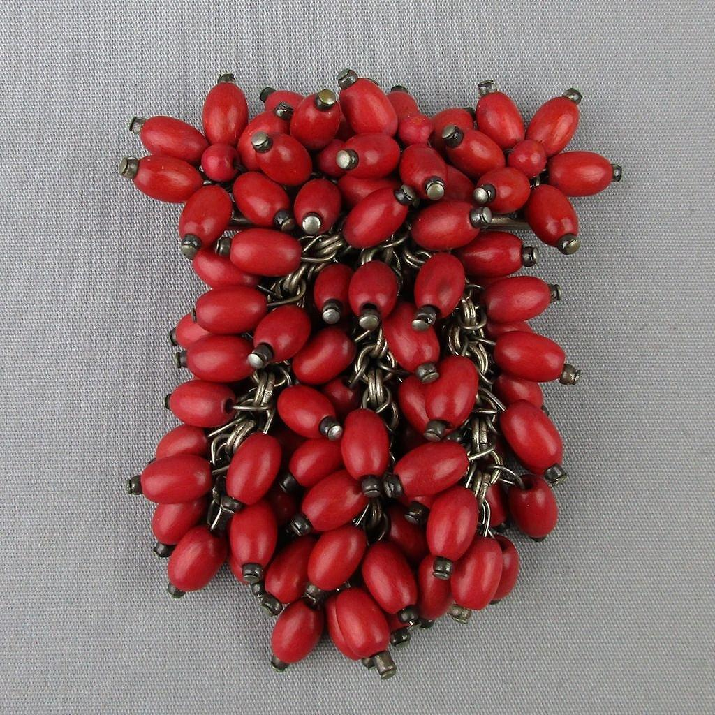 1930s Czech Red Wood Bead Dangles Pin Brooch - Dozens of 'em