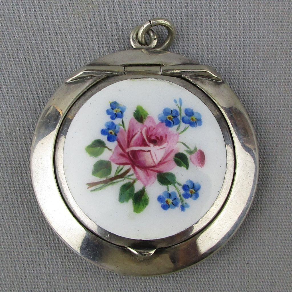 Vintage Heavy Silver-Plate Enamel Rose Pillbox Pendant Locket