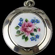 Vintage Heavy Silver-Plate Enamel Rose Pillbox Pendant Locket