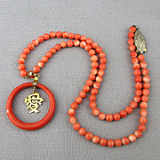 Chinese Coral Bead Necklace w/ 14K Gold LOVE Charm - Silver Clasp