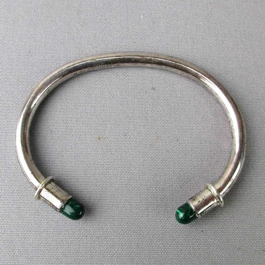 Sterling Silver Mexican 925 Cuff Bracelet w/ Malachite Ends