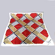 Vintage Elsa Schiaparelli Silk Print Scarf Bold Design w/ Rolled Edges