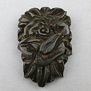 Big 1930s Deep Carved Bakelite Pin / Pendant Thick Floral