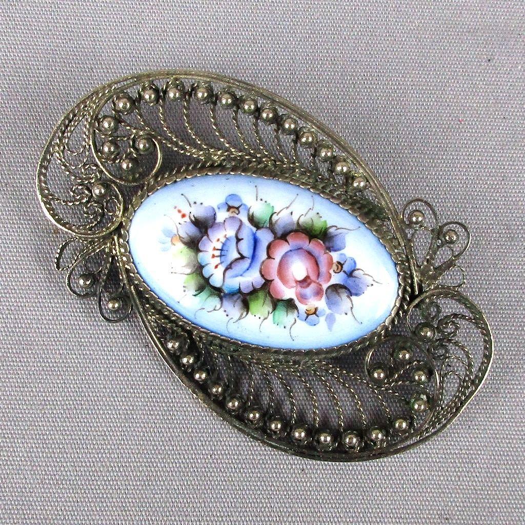 Vintage Silver-Tone Filigree Enamel Floral Pin Brooch