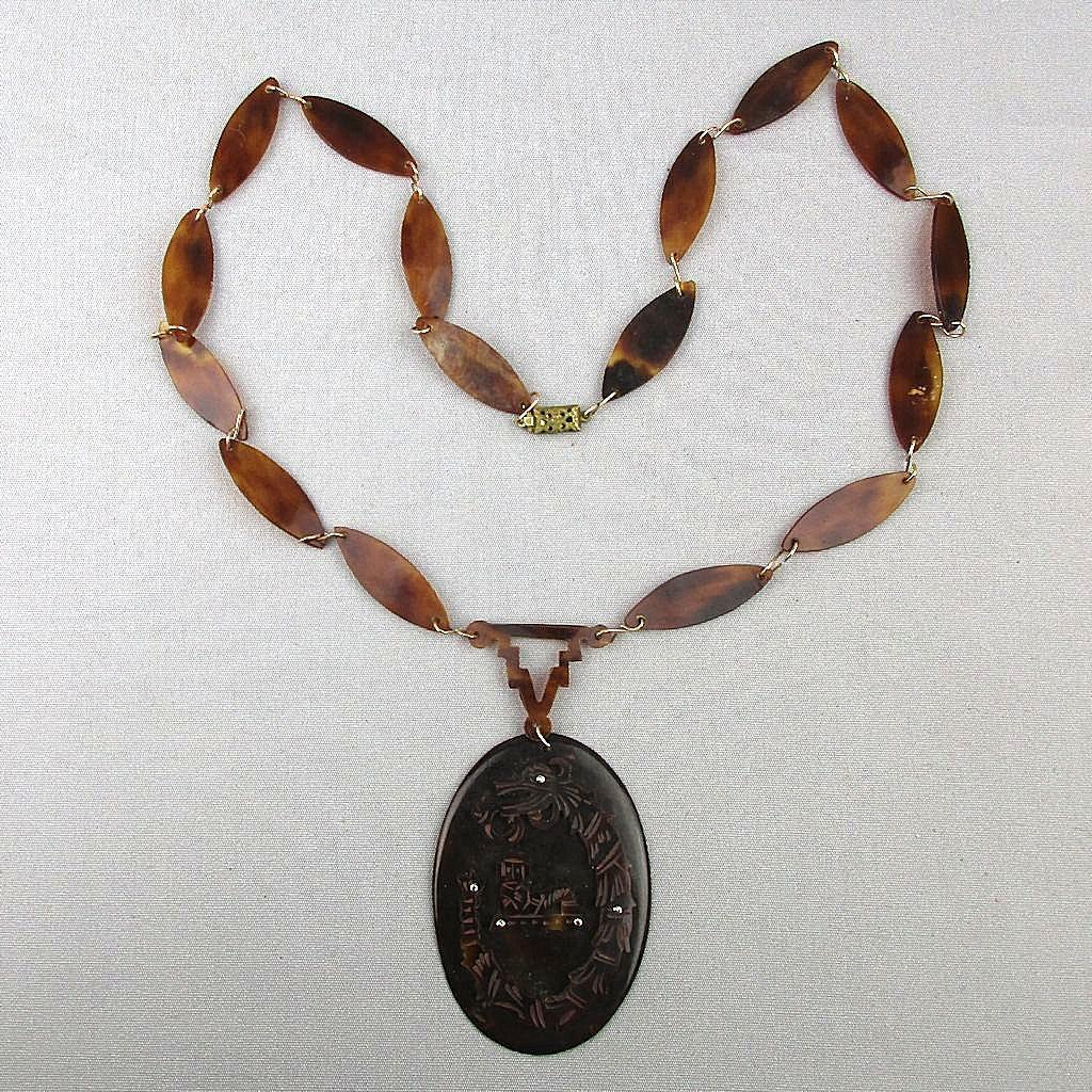 Old Chinese Faux Tortoise Shell Necklace w/ Dragon Pendant Carved