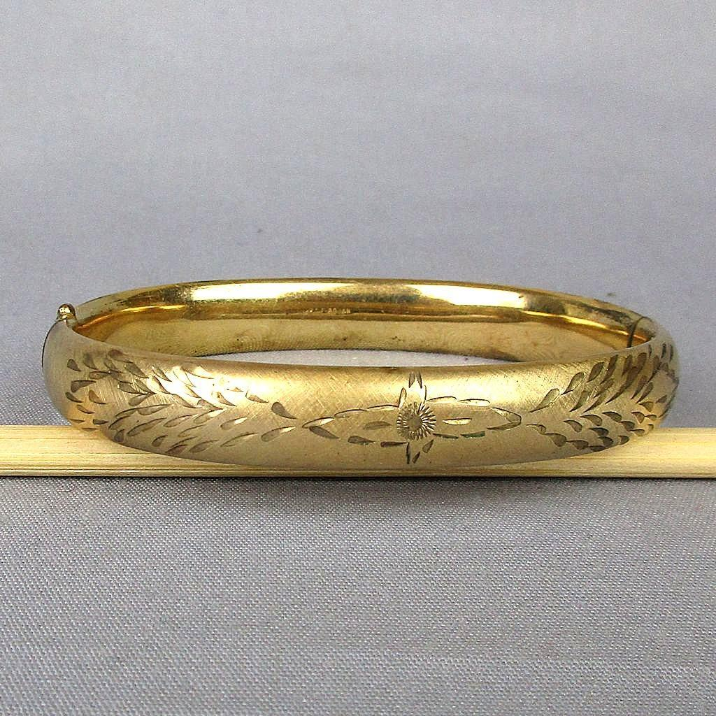 Vintage 12K Gold-Filled Etched Bangle Hinge Bracelet Signed Bojar