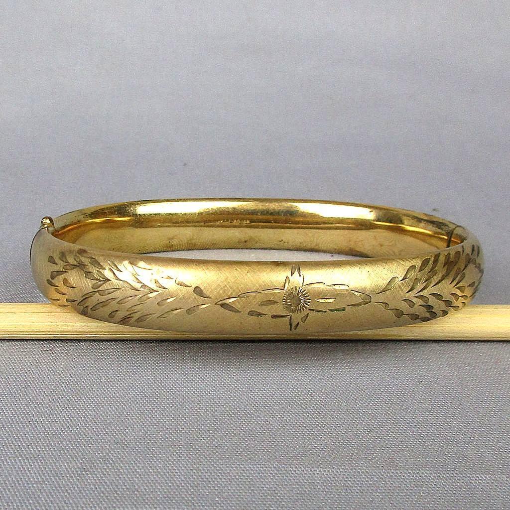 Vintage 12K Gold-Filled Etched Bangle Hinge Bracelet Signed Bojar