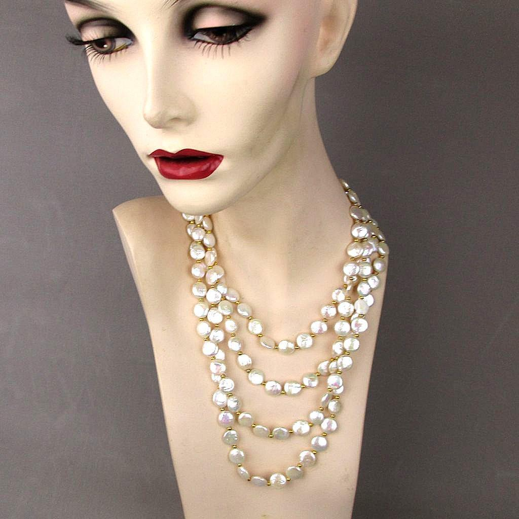 Vintage 4-Strand Freshwater Coin Pearl Necklace - Estate Grandeur