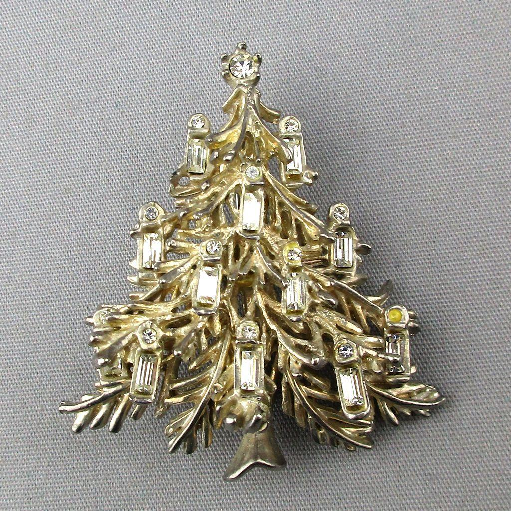 Vintage White Rhinestone Silvertone Christmas Tree Pin Brooch
