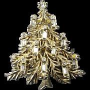 Vintage White Rhinestone Silvertone Christmas Tree Pin Brooch