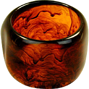 Big Lucite Root Beer Swirl Bangle Bracelet 2 1/4 Inches Wide
