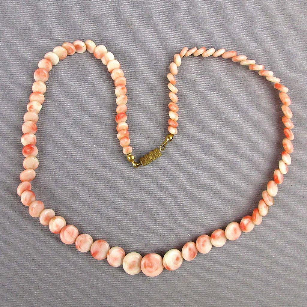 Vintage Angel Skin Coral Flat Disk Bead Necklace