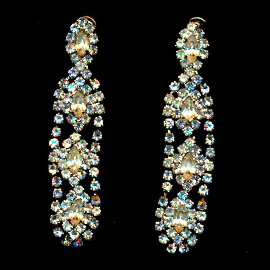 Vintage HOBE Crystal Rhinestone Dangle Earrings
