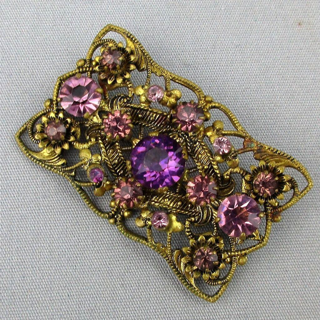 Art Deco Era Czech Gilt Brass Filigree Pin w/ Amethyst Crystals