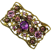 Art Deco Era Czech Gilt Brass Filigree Pin w/ Amethyst Crystals