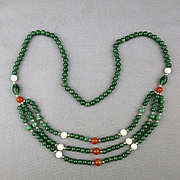Estate Triple Treat Bead Necklace - Jade Onyx Carnelian